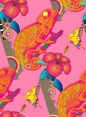 Seamless pattern of chameleon and flowers