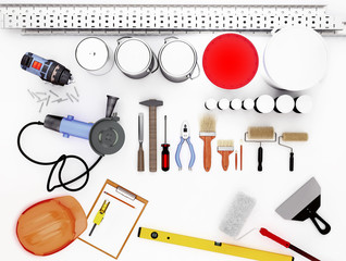 Tools for construction and renovation isolated on white background.