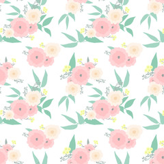 Beautiful floral bouquets seamless vector pattern. Delicate flowers of pastel shades.