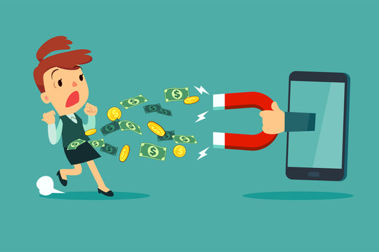 large magnet from smart phone screen attract money from a businesswoman