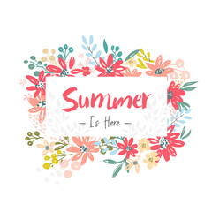 Summer is here. Beautiful banner with flowers elements. Vector illustration template.