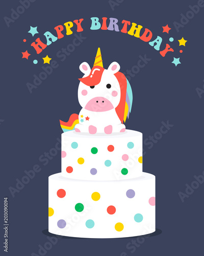 Happy Birthday Unicorn Cake Card Vector Illustration