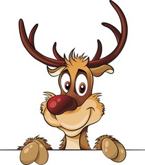 Deer above baner with cute smile vector cartoon