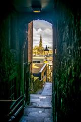 Edinburgh Narrow Street View Edinburgh Travel background