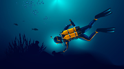 Scuba diver exploring the seabed. Underwater archaeologist found an ancient jug underwater. Oxygen cylinders on the back of the diver