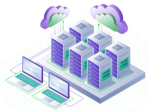 Cloud computing technology and server room concept. Landing page template. 3d isometric vector illustration.