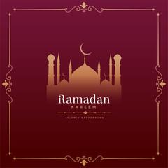 vintage style ramadan kareem festival design with mosque shape