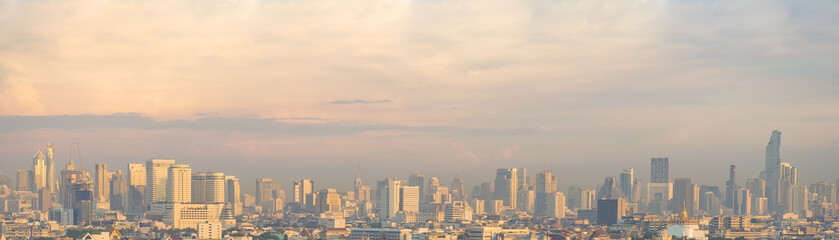 Panorama view of skyscrapers on beautiful sunset.