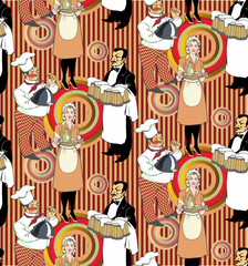 Pattern in vintage style. Restaurant staff
