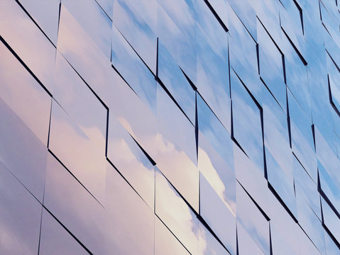 View of the clouds reflected in the glass office building. 3d rendering