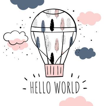 """Vector illustration in Scandinavian style. Hot air balloon """"Hello world""""."""