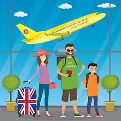 Cartoon caucasian family of travelers at the airport,