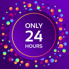 Colorful gradient balls on purple background. Abstract geometric background with different circles. Bright neon colors, 90s style. Vector illustration. Sale web banner.