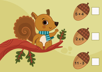 Educational Mathematical game for children. Can you solve them? Vector illustration of a squirrel and acorns.