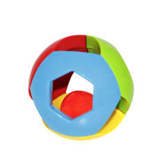 multi-colored ball toy rattle for baby isolated on white background