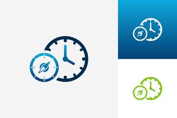 Compass Time Logo Template Design Vector, Emblem, Design Concept, Creative Symbol, Icon