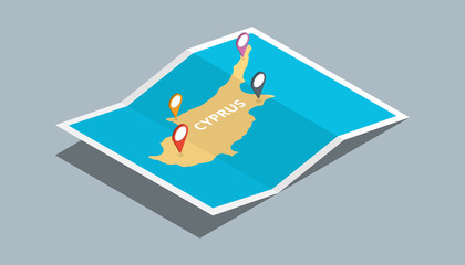 explore cyprus maps with isometric style and pin location tag on top