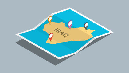 explore iraq maps with isometric style and pin location tag on top