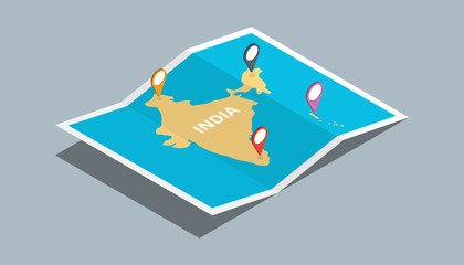 explore india maps with isometric style and pin location tag on top