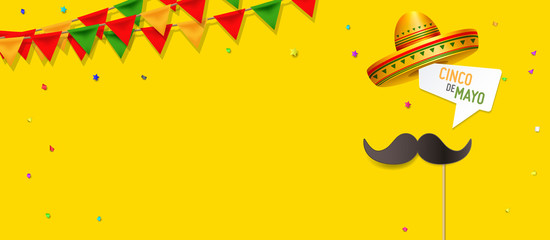 Simple Cinco De Mayo design concept vector. Moustache on a stick with a speech bubble Cinco De Mayo. Cinco De Mayo design with open space for your text.