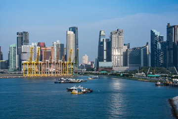 View of the Harbor Cranes and Singapore City