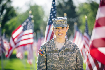 Portrait of hispanic American female soldier