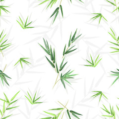 Seamless background with bamboo leaves, vector floral pattern with seamless texture for print design.