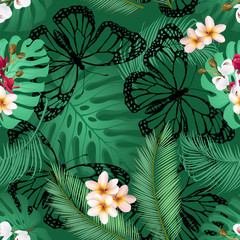 Seamless pattern with plumeria and orchid flowers, palm and monstera leaves and butterfly silhouettes. Floral seamless background for print design.