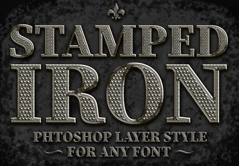 Stamped Metal Text Style