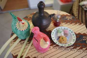 Chicken piggy bank and jug clay, traditional toy furniture from indonesia