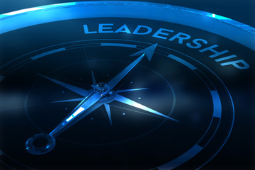 Compass pointing to leadership against purple vignette