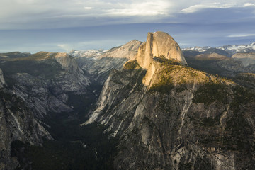 Scenic view of mountains against cloudy sky at Yosemite National Park