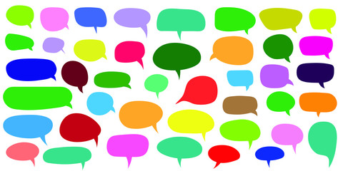 Colorful empty speech bubbles set, thought communication blank bubbles, comic and dialogue set, vector illustration.