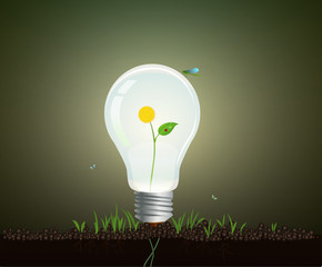 Ecology light bulb concept, realistic light bulb growing on soil with yellow flower inside, eco energy concept,