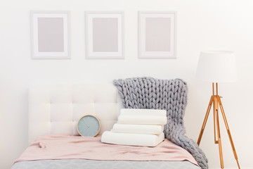 beautiful interior photographs of the modern bedroom, comfortable pillows of orthopedic