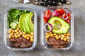 Foto auf Leinwand Sortiment Healthy meal prep containers with chickpeas, goose meat