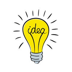 light bulb with word idea, stock vector illustration