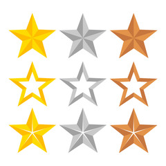 Set of different gold, silver and bronze ranking stars, stock vector illustration