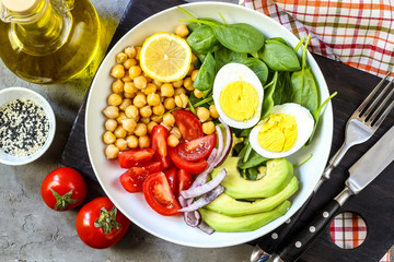 Healthy salad bowl with chickpeas, goose meat , tomatoes, avocado, lemon and spinach
