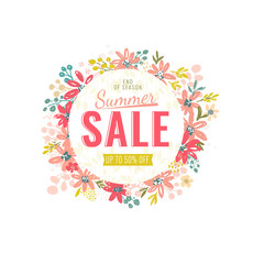 Summer sale 50 percent off. Banner with flowers elements. Vector illustration template.