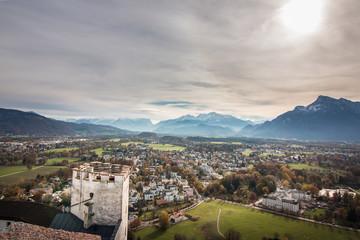 Ausblick Gebirgspanorama von der Festung Hohensalzburg