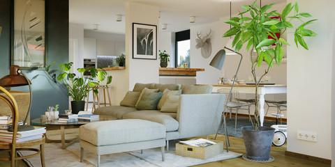 view inside luxury cosy sofa in living room - gemütliches sofa in Wohnzimmer mit Küche
