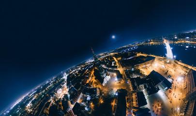 Old Riga Night Planet. Bridge roads in Riga city 360 VR Drone picture for Virtual reality