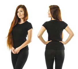Redhead woman posing with blank black shirt