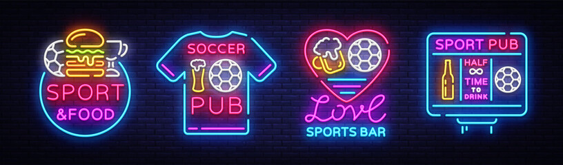 Sports bar collection logos neon vector. Sports pub set neon signs, Football and Soccer concepts, night bright signboard for sports pub bar, fan club, dining room, soccer cup, football online. Vector