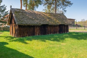 Old wooden farmstead  in Kluki. Poland