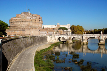 Castle of the Holy Angel, and the Ponte Sant'Angelo, a Roman bridge in Rome, Italy