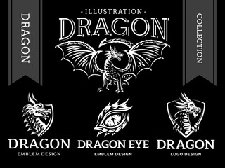 Dragon emblem, illustration, logotype, print design collection on a black background.
