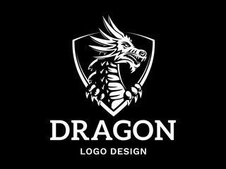 Vector head of a dragon in the form of a shield illustration, logotype, print, emblem design on a black background.