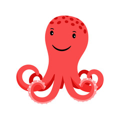 Octopus red cartoon icon